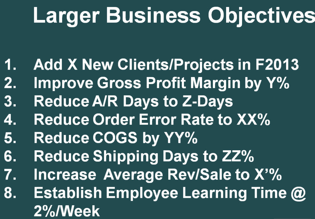 James Burgess, FOCUS31, Large Co Objectives